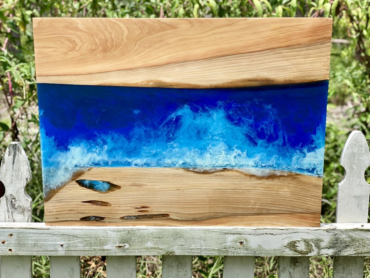 wood and resin ocean wave wall art