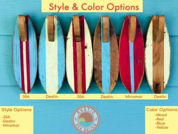wood Surfboard towel hook style options