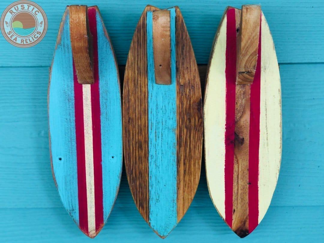 surfboard towel rack mounted rustic sea